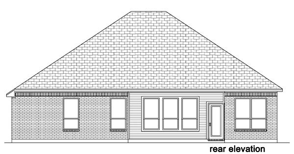 European , Traditional House Plan 87985 with 4 Beds, 2 Baths, 2 Car Garage Rear Elevation