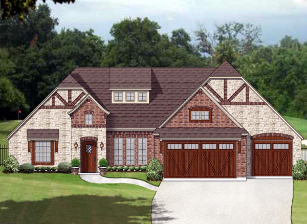 European, Traditional, Tudor House Plan 87992 with 3 Beds, 3 Baths, 3 Car Garage