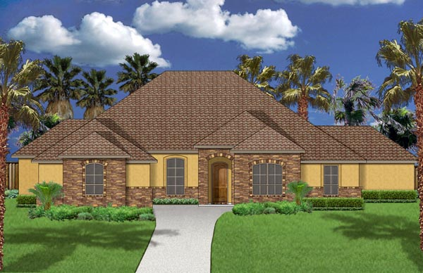 European, Mediterranean, Traditional House Plan 87994 with 4 Beds, 3 Baths, 3 Car Garage Elevation