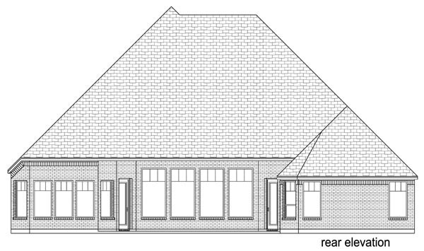 European, Traditional House Plan 87996 with 4 Beds, 3 Baths, 3 Car Garage Rear Elevation