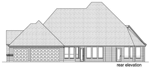 European , Traditional , Tudor House Plan 87997 with 4 Beds, 4 Baths, 3 Car Garage Rear Elevation