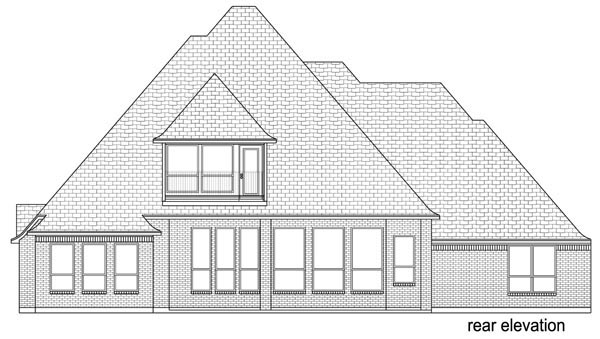 European, Traditional, Tudor House Plan 87999 with 4 Beds, 4 Baths, 3 Car Garage Rear Elevation