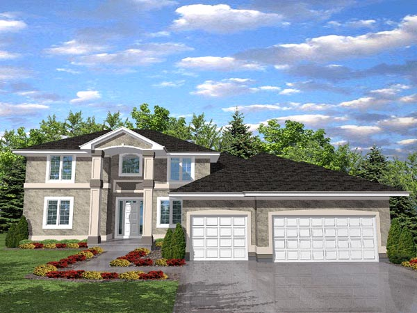 Colonial, Contemporary House Plan 88023 with 4 Beds, 4 Baths, 3 Car Garage Elevation