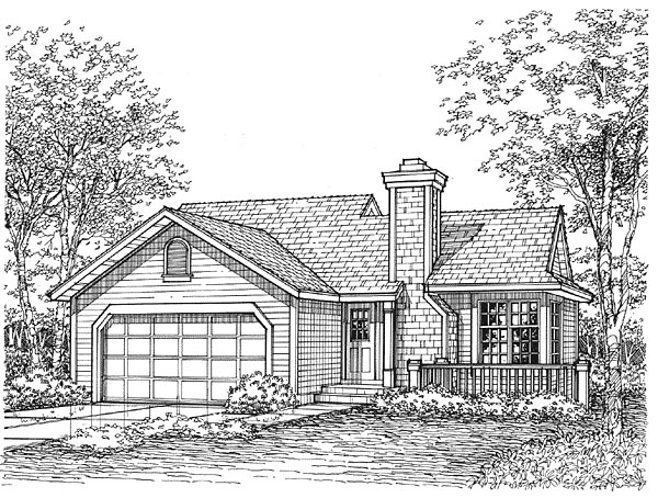 Narrow Lot, One-Story House Plan 88176 with 2 Beds, 1 Baths, 2 Car Garage Elevation
