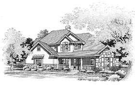 Country European Traditional House Plan 88224 Elevation