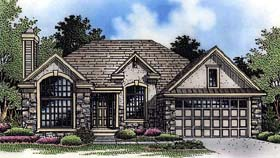 European , Traditional House Plan 88228 with 3 Beds, 2 Baths, 2 Car Garage Elevation