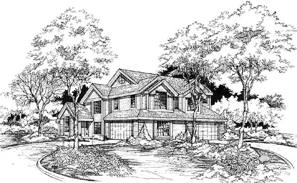 Traditional Multi-Family Plan 88243 Elevation