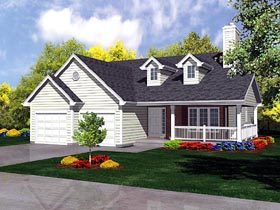 Traditional House Plan 88325 with 3 Beds, 1 Baths, 2 Car Garage Elevation