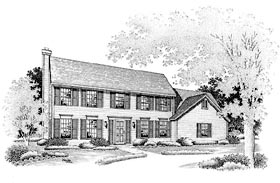 Colonial House Plan 88391 Elevation