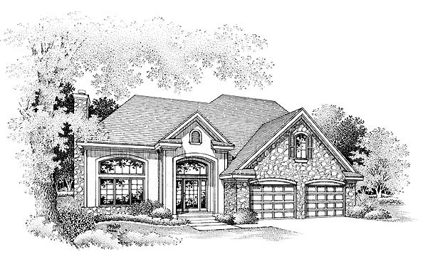 European Traditional House Plan 88393 Elevation
