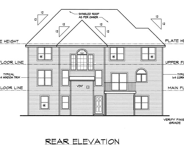 Traditional House Plan 88397 Rear Elevation