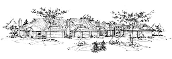 Traditional Multi-Family Plan 88399 Elevation