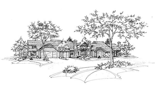 Traditional Multi-Family Plan 88400 Elevation