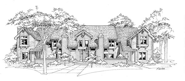 Traditional Multi-Family Plan 88402 Elevation