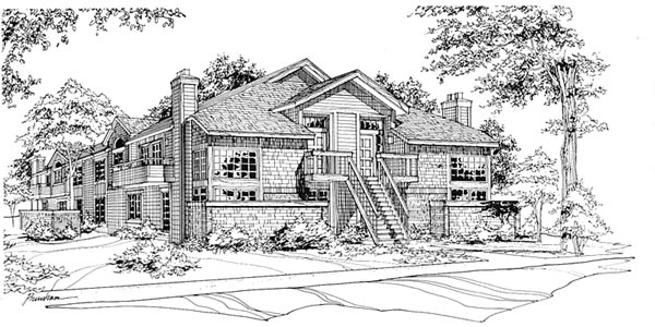 Traditional Multi-Family Plan 88403 Elevation