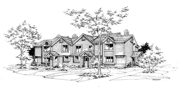 Traditional Multi-Family Plan 88408 with 7 Beds, 8 Baths Elevation