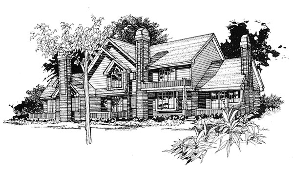 Traditional Multi-Family Plan 88409 with 6 Beds, 8 Baths, 2 Car Garage Elevation