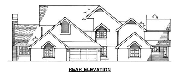 Traditional Multi-Family Plan 88409 Rear Elevation