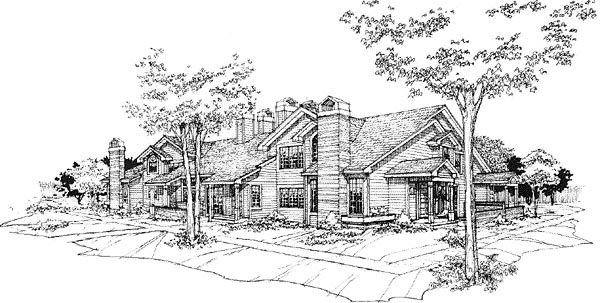 Traditional Multi-Family Plan 88412 Elevation