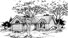 Ranch House Plan 88419 with 2 Beds, 2 Baths, 2 Car Garage Elevation