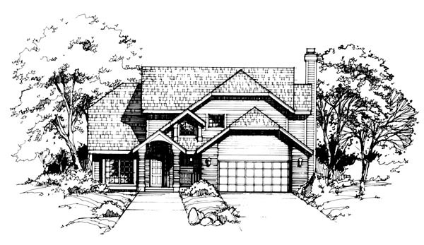 Traditional House Plan 88443 with 3 Beds, 3 Baths, 2 Car Garage Elevation