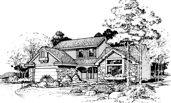 Contemporary Traditional House Plan 88465 Elevation