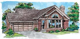Ranch House Plan 88497 with 2 Beds, 2 Baths, 2 Car Garage Elevation