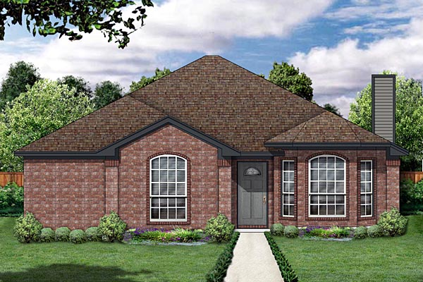 Traditional House Plan 88610 with 3 Beds, 2 Baths, 2 Car Garage Front Elevation