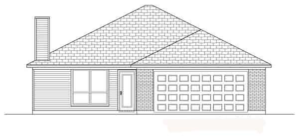 Traditional House Plan 88610 with 3 Beds, 2 Baths, 2 Car Garage Rear Elevation