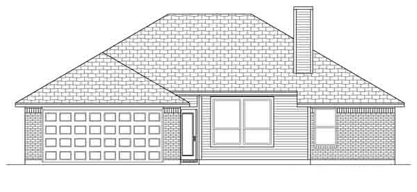 Traditional House Plan 88615 with 3 Beds, 2 Baths, 2 Car Garage Rear Elevation