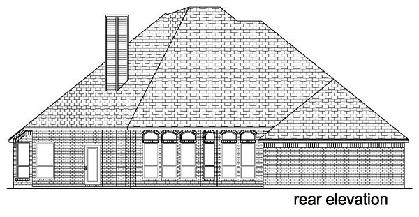 European Traditional House Plan 88622 Rear Elevation