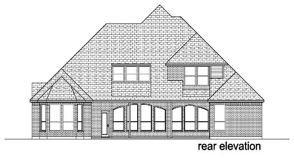Traditional , European House Plan 88626 with 4 Beds, 3 Baths, 3 Car Garage Rear Elevation