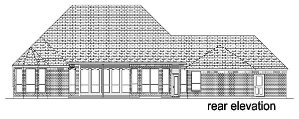 European, One-Story, Tudor House Plan 88627 with 4 Beds, 3 Baths, 3 Car Garage Rear Elevation