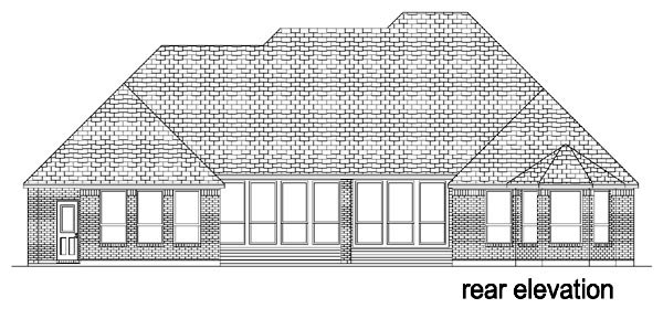 European, One-Story, Tudor House Plan 88629 with 4 Beds, 4 Baths, 3 Car Garage Rear Elevation