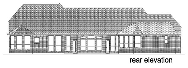 European, One-Story House Plan 88630 with 4 Beds, 4 Baths, 3 Car Garage Rear Elevation