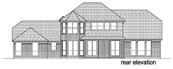 European, Tudor House Plan 88631 with 5 Beds, 3 Baths, 3 Car Garage Rear Elevation