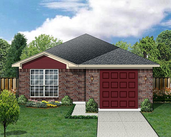 Traditional House Plan 88633 with 2 Beds, 2 Baths, 1 Car Garage Elevation
