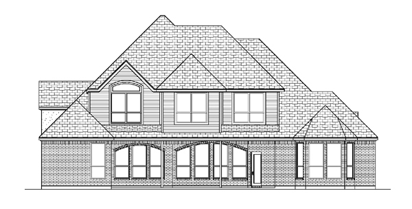 European Tudor House Plan 88637 Rear Elevation