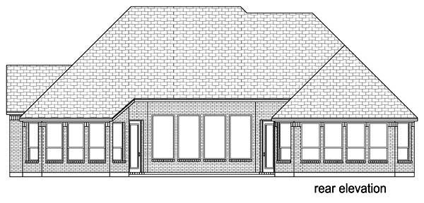 European Traditional House Plan 88645 Rear Elevation