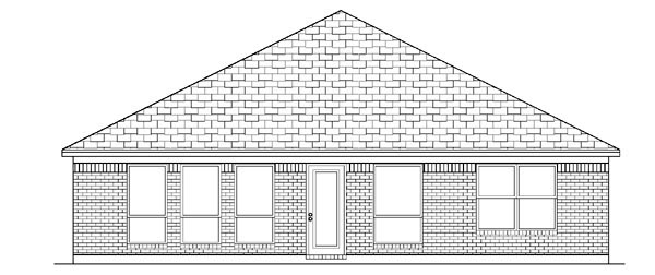 Narrow Lot, One-Story, Traditional House Plan 88646 with 3 Beds, 2 Baths, 2 Car Garage Rear Elevation