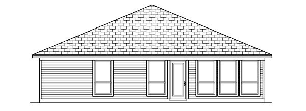 House Plan 88653 | Traditional Style Plan with 1860 Sq Ft, 3 Bedrooms, 2 Bathrooms, 2 Car Garage Rear Elevation