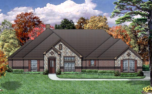 European House Plan 88687 Elevation