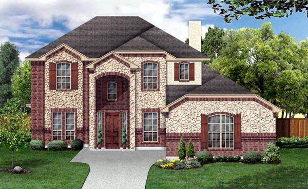 European House Plan 88688 with 3 Beds, 3 Baths, 2 Car Garage Elevation