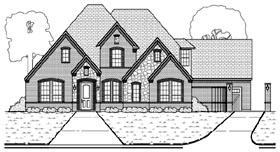 Tudor , European House Plan 88689 with 4 Beds, 3 Baths, 3 Car Garage Elevation