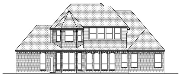 European Tudor House Plan 88691 Rear Elevation