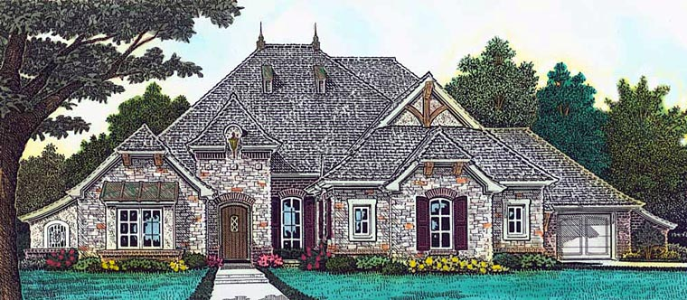 Country European French Country Tudor House Plan 89400 Elevation