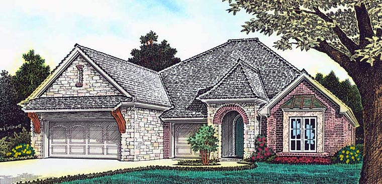 Craftsman European French Country House Plan 89402 Elevation