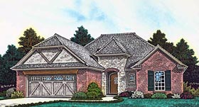 House Plan 89404 | Country, French, Country, Tudor Style House Plan with 1568 Sq Ft, 3 Bed, 2 Bath, 2 Car Garage Elevation