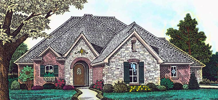 Country, European, French Country House Plan 89408 with 4 Beds, 3 Baths, 3 Car Garage Front Elevation