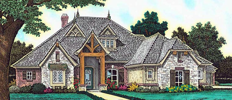 House Plan 89410 | Craftsman French Country Style Plan with 2682 Sq Ft, 3 Bedrooms, 4 Bathrooms, 3 Car Garage Elevation